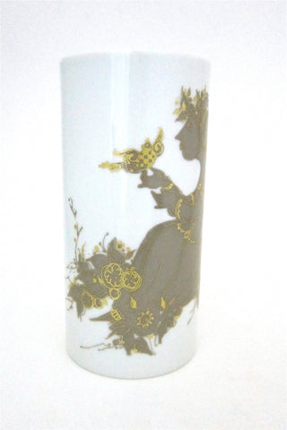 Bjorn Wiinblad for Rosenthal Studio Line gold birds and girls porcelain vase