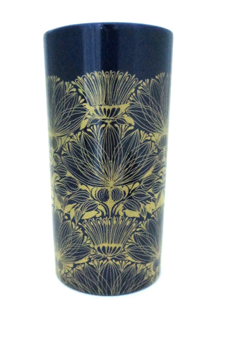 detail Bjorn Wiinblad for Rosenthal Studio Line cobalt blue and gold porcelain vase