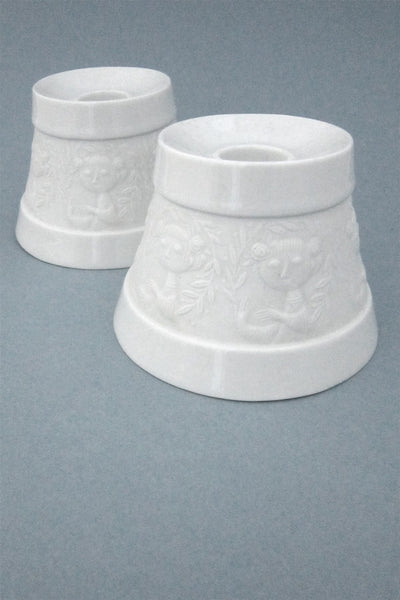 Bjorn Wiinblad for Rosenthal Studio Line porcelain relief candle holders