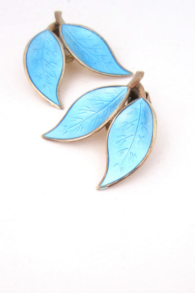 David-Andersen Norway vintage sterling enamel leaf earrings by Willy Winnaess