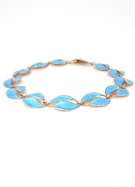 David-Andersen Norway vintage sterling enamel leaf necklace by Willy Winnaess