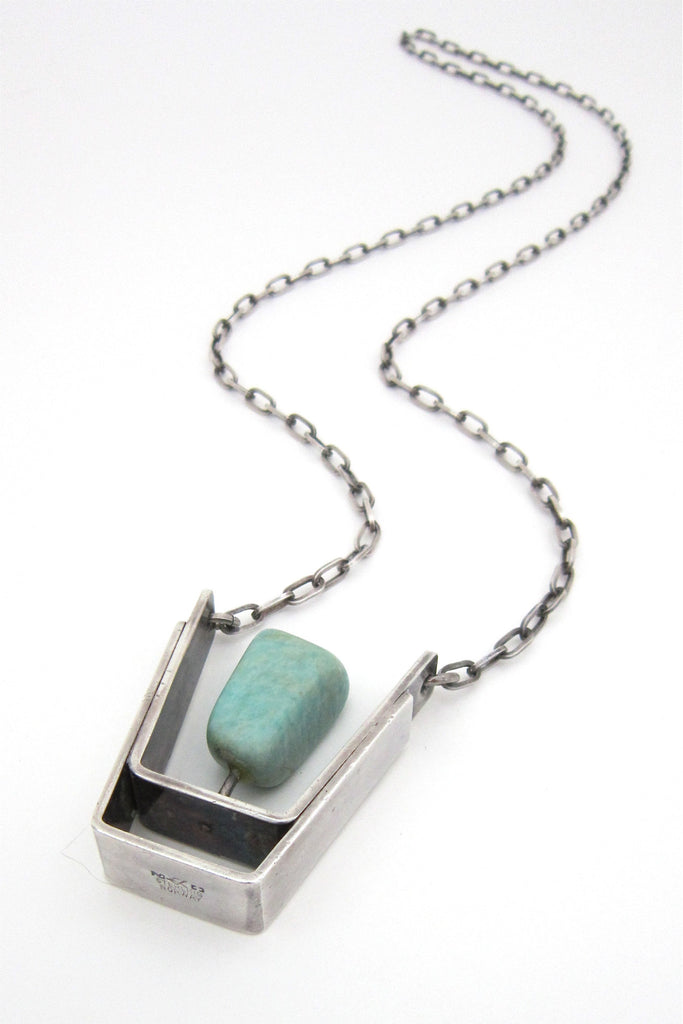Erling Christoffersen, Plus Studios Norway vintage sterling & amazonite large pendant necklace