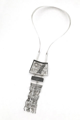 extraordinary & large kinetic pendant necklace ~ mixed media silver & mirror