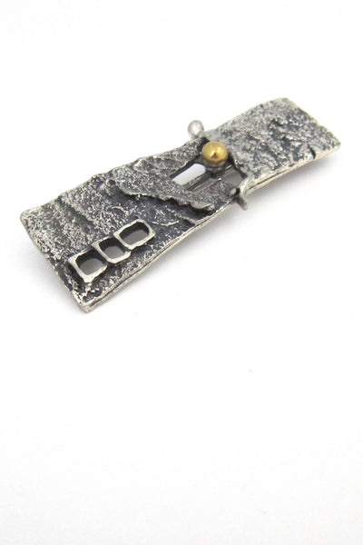 Guy Vidal pewter and bronze windows brooch
