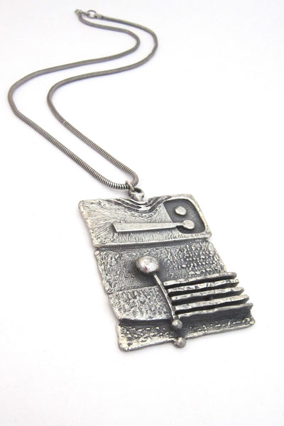 Guy Vidal Canada vintage brutalist pewter dimensional stripes pendant necklace