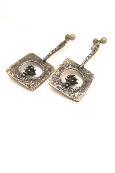 Guy Vidal Canada vintage pewter drop earrings