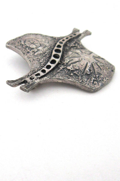 Guy Vidal pewter stingray brooch