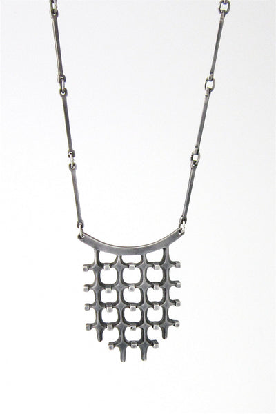 detail Marianne Berg for David Andersen Norway vintage silver long link chain pendant necklace