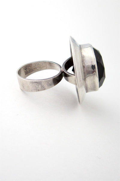 Erik Granit Finland vintage modernist silver and smoky quartz massive ring