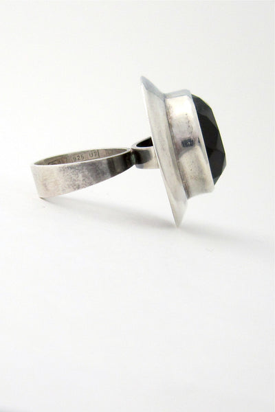 profile Erik Granit Finland vintage modernist silver and smoky quartz large statement ring 1973