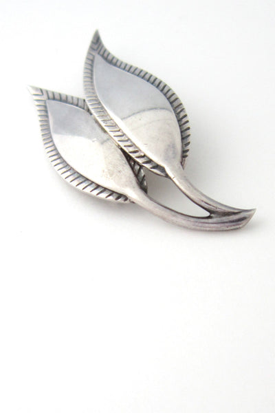 Just Andersen Denmark silver stylized leaves brooch