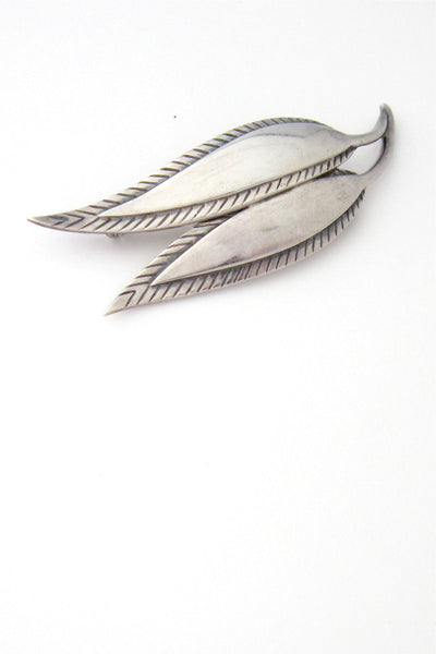 Just Andersen Denmark silver stylized leaf brooch
