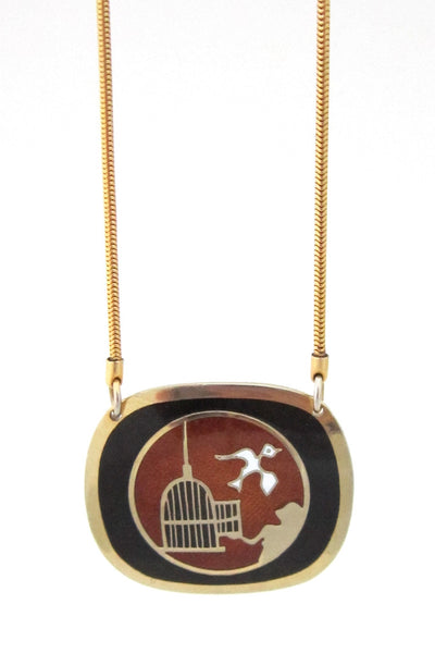 "de Passillé-Sylvestre Canada vintage enamel ""set it free"" necklace"