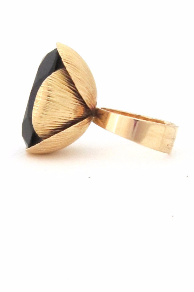 Elis Kauppi for Kupittaan Kulta, Finland gold & smoky quartz large cocktail ring