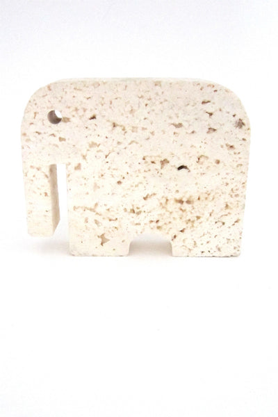 vintage travertine marble elephant sculpture