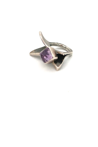 vintage large textured silver amethyst ring great facet to the stone studio made