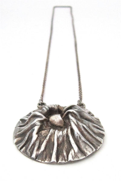 Matti Hyvarinen for Sirokoru Ky, Finland vintage sterling silver crater necklace