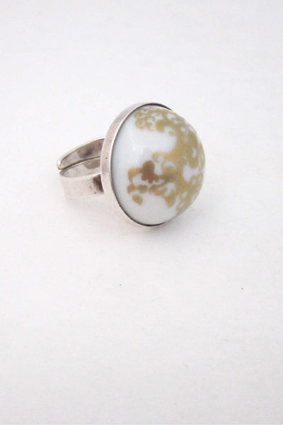 Porsgrund, Norway vintage silver and porcelain ring by Anne Marie Odegaard