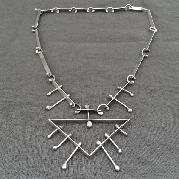 Studio made large kinetic primitive modernist silver necklace brutalist style