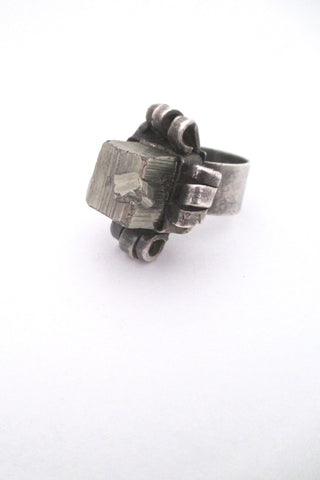 pyrite and silver vintage mid century brutalist ring