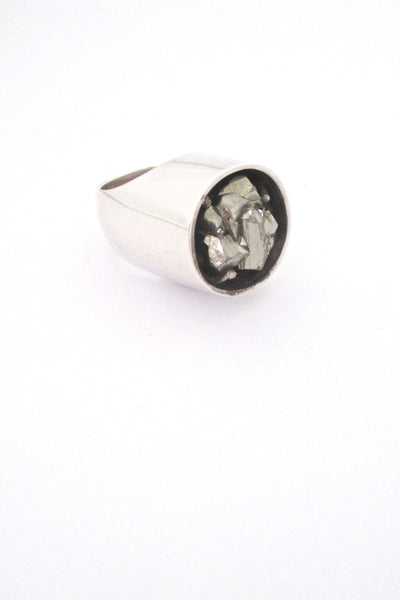 vintage silver and natural pyrite massive brutalist ring circa 1970s