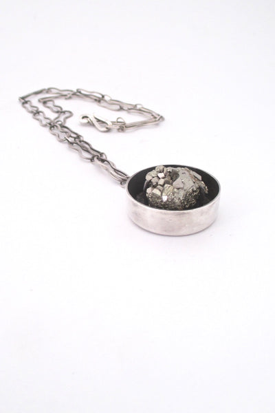 pyrite and silver vintage brutalist large pendant necklace studio made