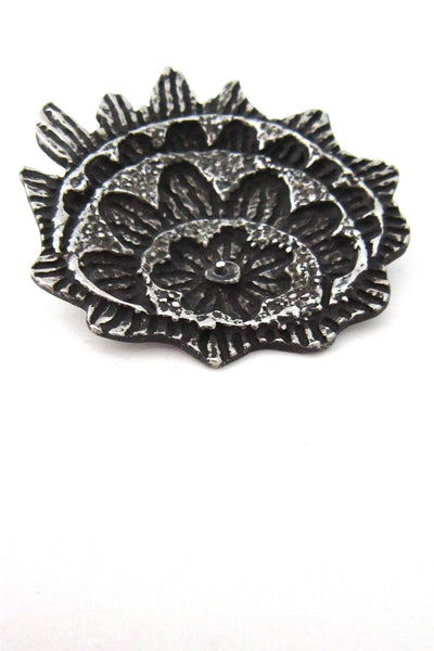 Robert Larin Canada pewter flames and Flowers brooch