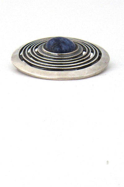 Marianne Berg for Uni David-Andersen, Norway silver & sodalite pendant-brooch