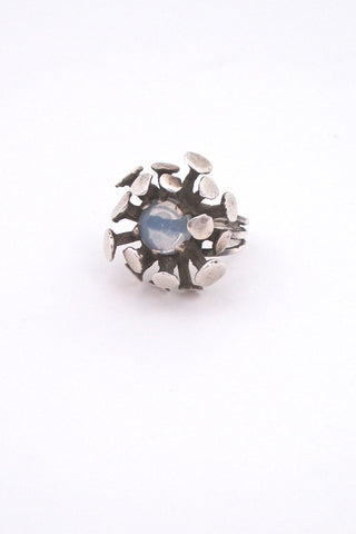 vintage mid century modern atomic ring in sterling silver and moonstone