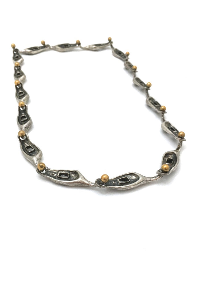 Guy Vidal (attributed) extra fabulous vintage long link brutalist pewter chain with brass connectors Canadian design jewelry