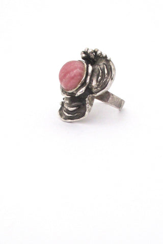 vintage silver and rhodochrosite large brutalist ring