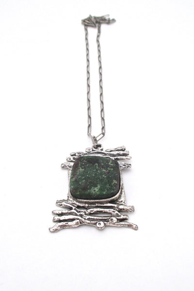 vintage brutalist sterling silver ruby-zoisite large pendant necklace on original chain