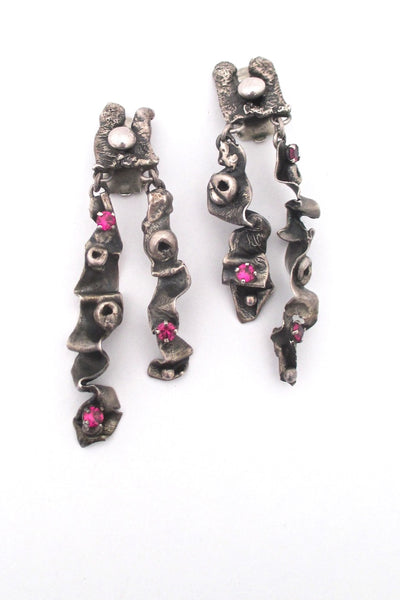 vintage sterling silver synthetic ruby long brutalist drop earrings