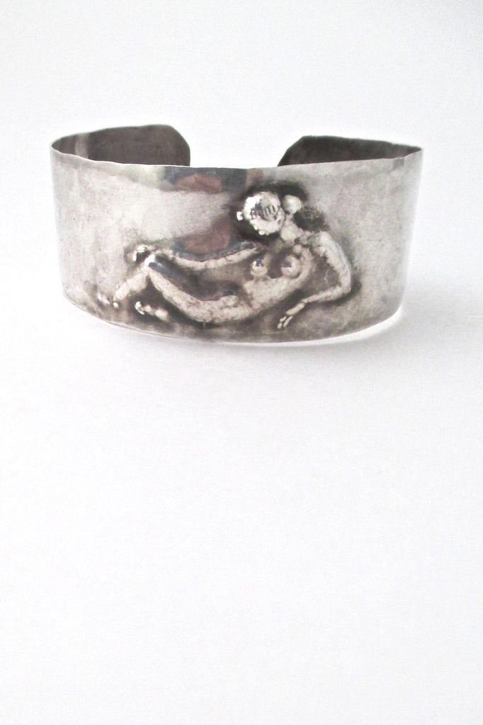 vintage hammered silver sculptural nude repousse cuff bracelet
