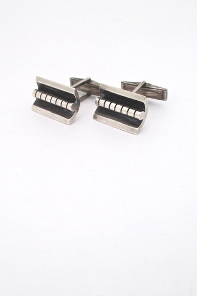detail vintage mid century modern studio made heavy sterling silver cufflinks