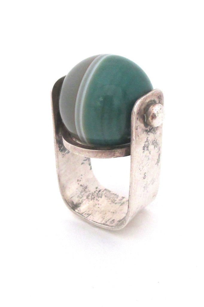 vintage modernist sterling silver large statement ring with banded agate
