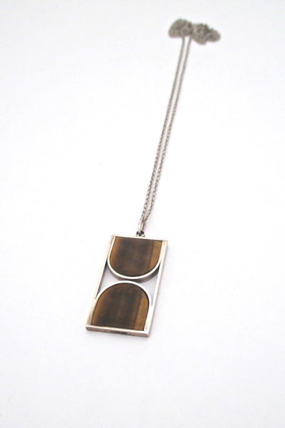 vintage mid century modern silver tiger eye graphic pendant necklace modernist design vintage jewelry