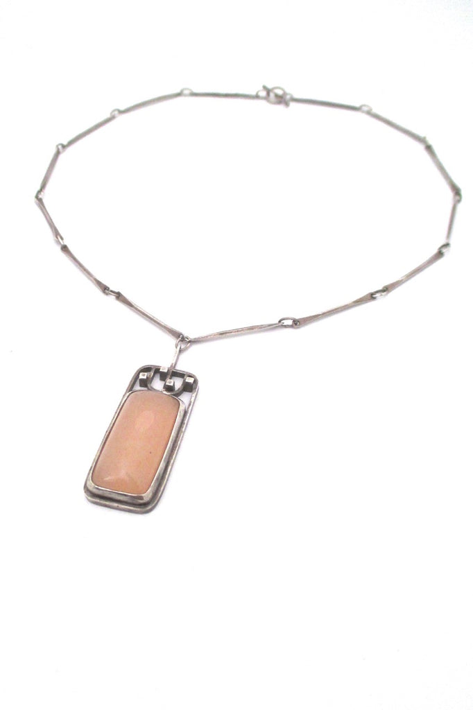 vintage studio made mid century Modernist silver rose quartz pendant necklace