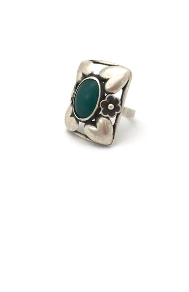 classic Scandinavian design extra large silver and chrysoprase ring Danish design jewelry