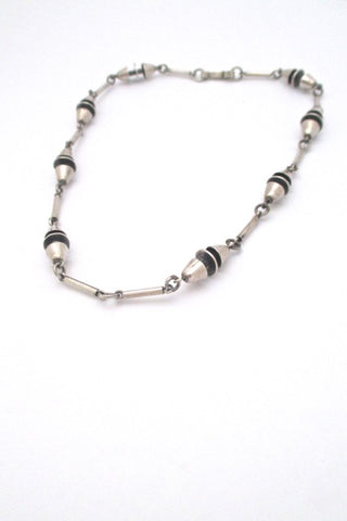 vintage heavy silver constructivist long link chain necklace mid century design