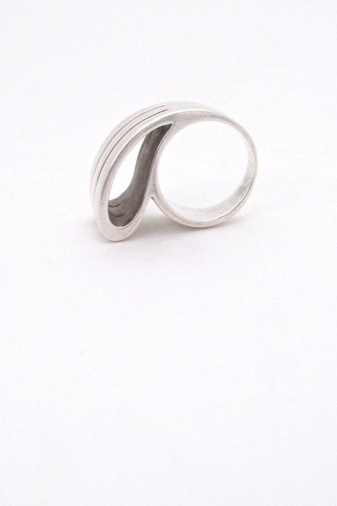 vintage silver large open loop ring Italy mid century modernist design