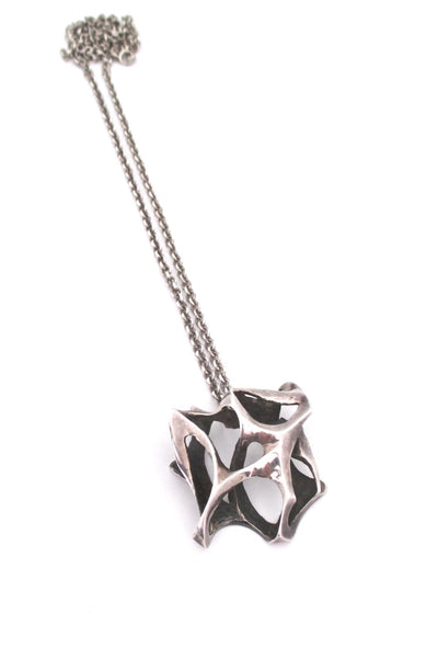 large sterling silver vintage brutalist pendant necklace
