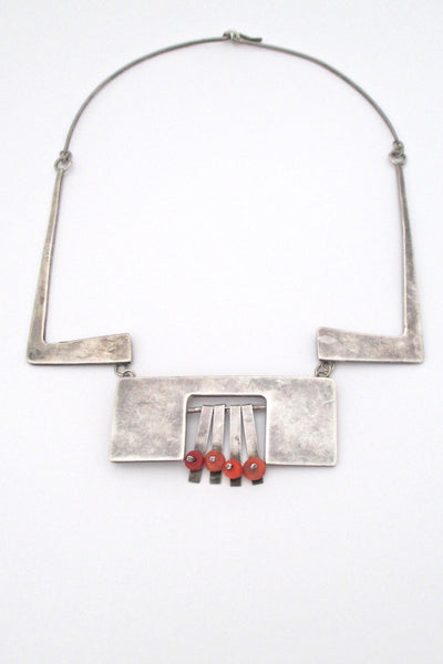 vintage modernist silver studio made large bib necklace with coral