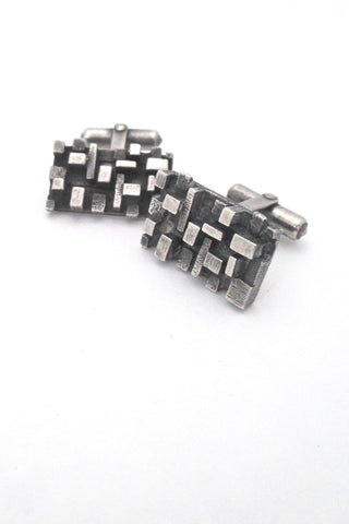 vintage sterling silver dimensional cubes mid century modern cufflinks