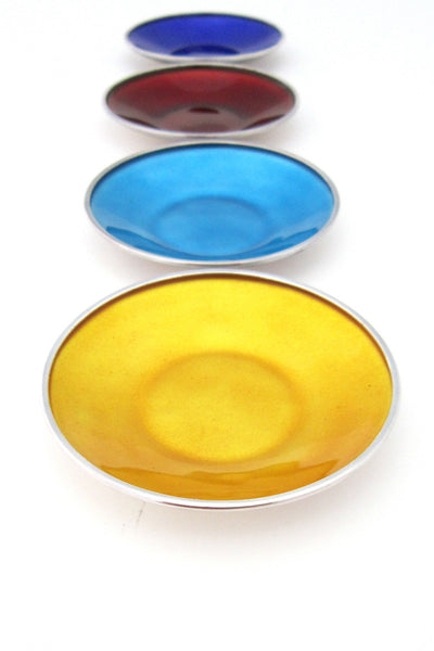 Axel Apel Denmark vintage mid century silver & enamel set of small dishes open salts