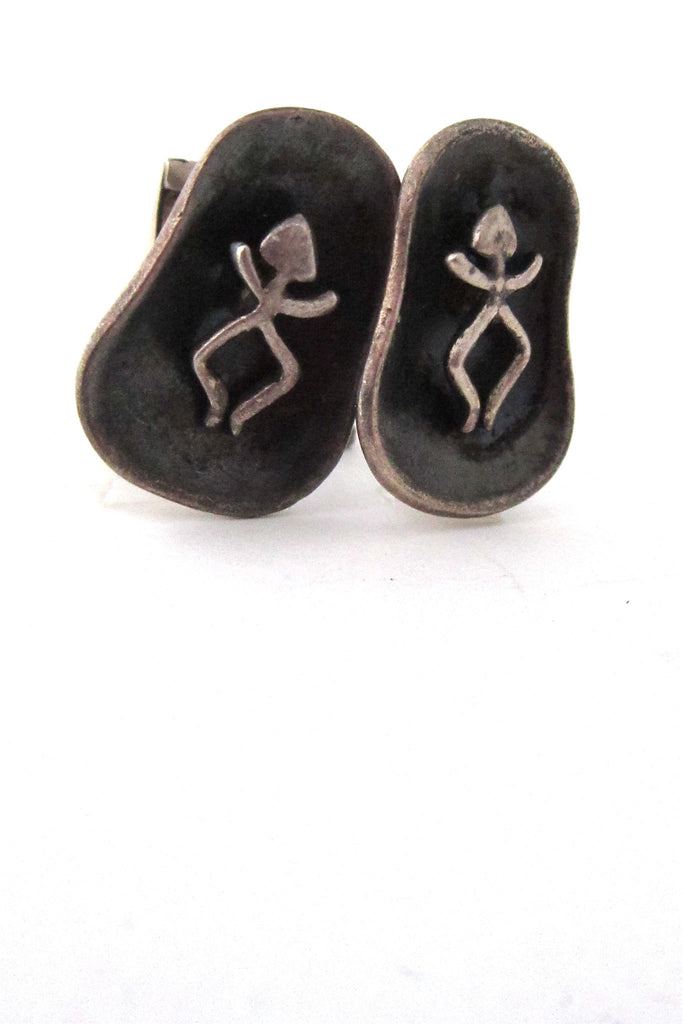 vintage Cortes Mexico sterling silver shadow box dancers cuff links