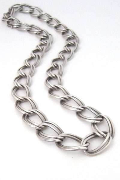vintage Mexico sterling silver large double link necklace
