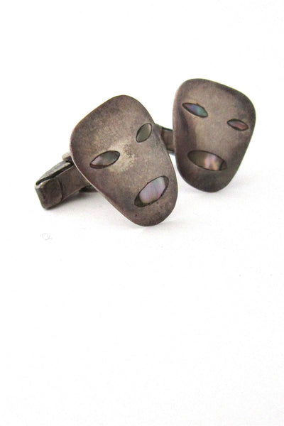 vintage Taxco Mexico sterling silver masks cuff links