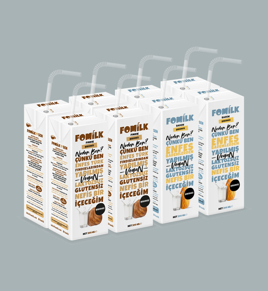 Fındık Şekersiz ve Badem Şekersiz / Hazelnut No Sugar and Almond No Sugar 200ml x 8