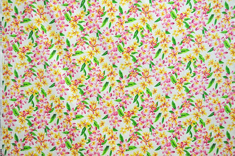 pink and yellow floral on cream